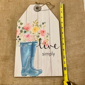 NWT Faux Shiplap Sign Live Simply Floral Boots